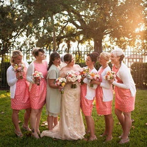 Pink Polka Dot Bridesmaids Dresses