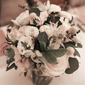 White Flowers With Eucalyptus and Lavendar