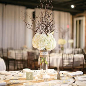 Rustic White Hydrangea Centerpieces