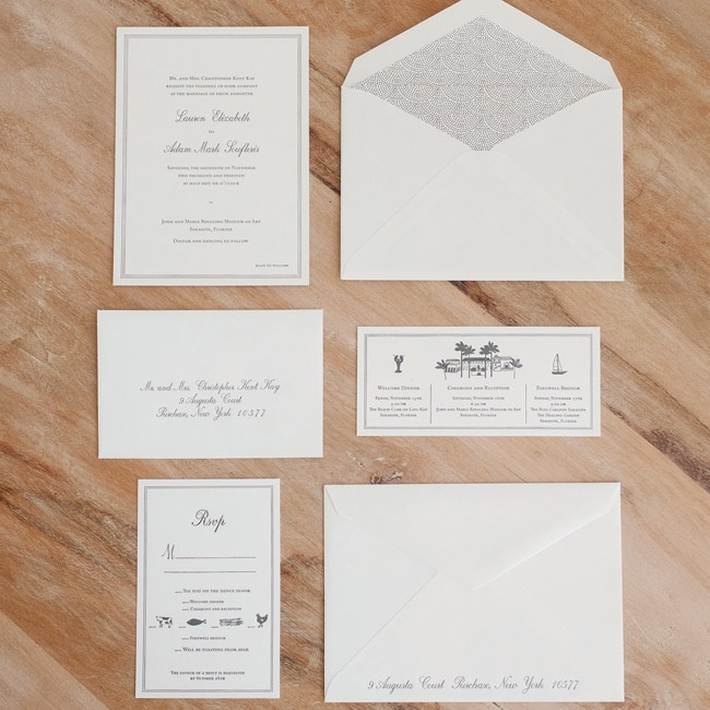 Lauren is a stationery fanatic, so fabulous wedding invitations were a must. The custom suite was classic white and charcoal gray, and coordinated with the typography and borders.