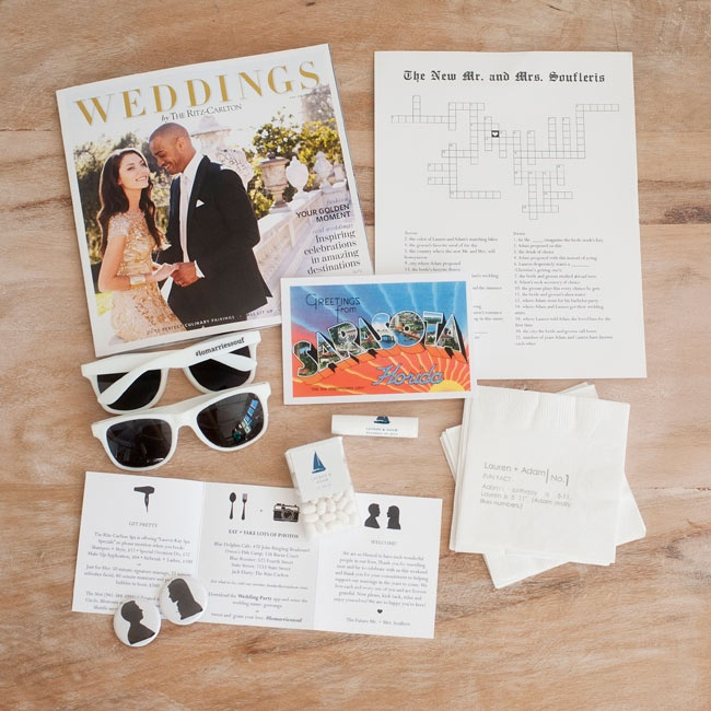 The couple welcomed guests with bags containing snacks, sunglasses, postcards and lip balm.