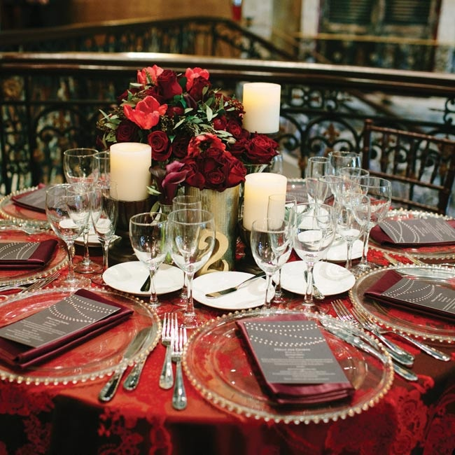 The bold tablecloths had a deep red floral print that complemented the southern gothic look of the venue.