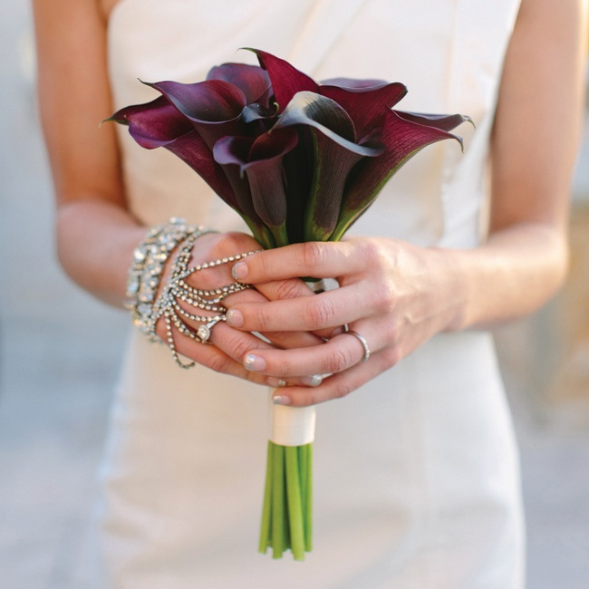 Molly carried a dramatic bouquet of eggplant calla lilies.