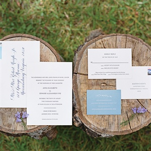 White and Slate Blue Invitation Suite