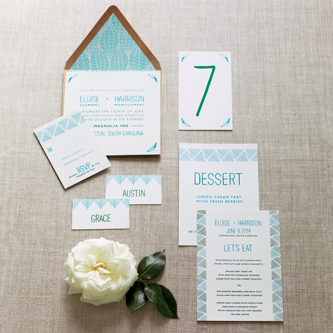 Instead of completely coordinating, create a subtle contrast with your paper. A modern leaf-inspired design and contemporary fonts lend sophistication to rustic decor. Vibrant blues and greens tie it all together without being too matchy-matchy.
