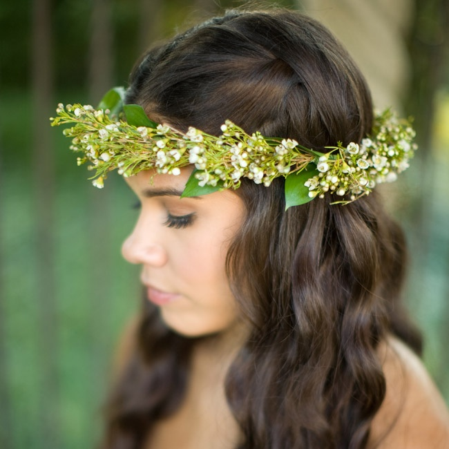 "Amber always knew she wanted a flower crown to be part of her bridal look—in fact, she planned her whole style around the accessory. ""It was exactly what I had pictured,"" she said."