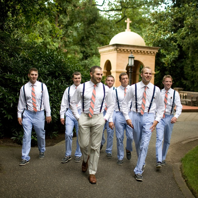 Light blue pants, suspenders, striped ties and boat shoes gave the groomsmen a colorful and casual look for the wedding.