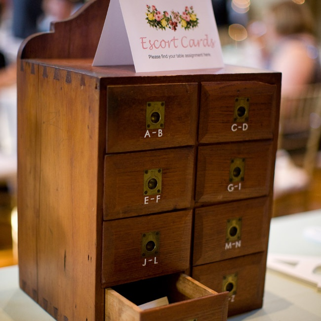Instead of a traditional escort card display, the couple used a small chest of drawers and organized the cards by last name.