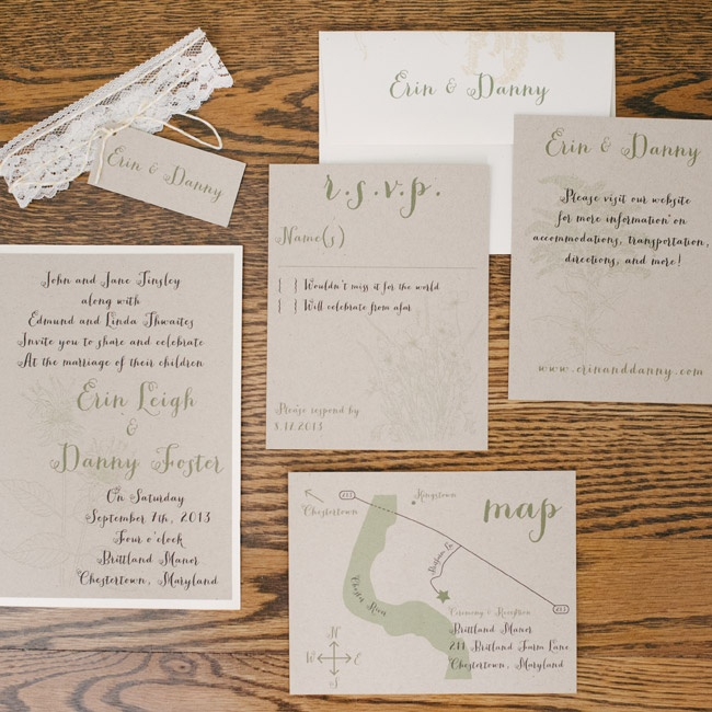 Invitations were printed in pale green on light brown paper to match the rest of the wedding's color scheme.