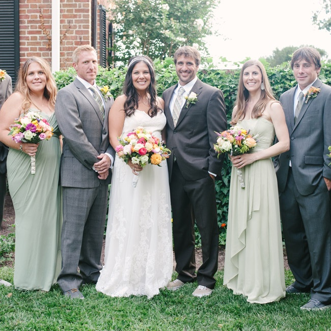 The groom and groomsmen kept their looks casual by wearing light gray suits and Vans shoes.
