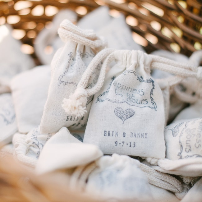 Bags of dried lavender were available at the entrance to the ceremony. Guests were encouraged to toss the dried flowers as the newlyweds walked back down the aisle.
