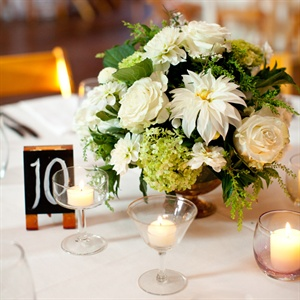White and Green Floral Centerpieces