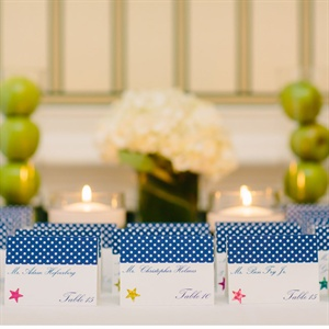 Navy Polka Dot Escort Cards