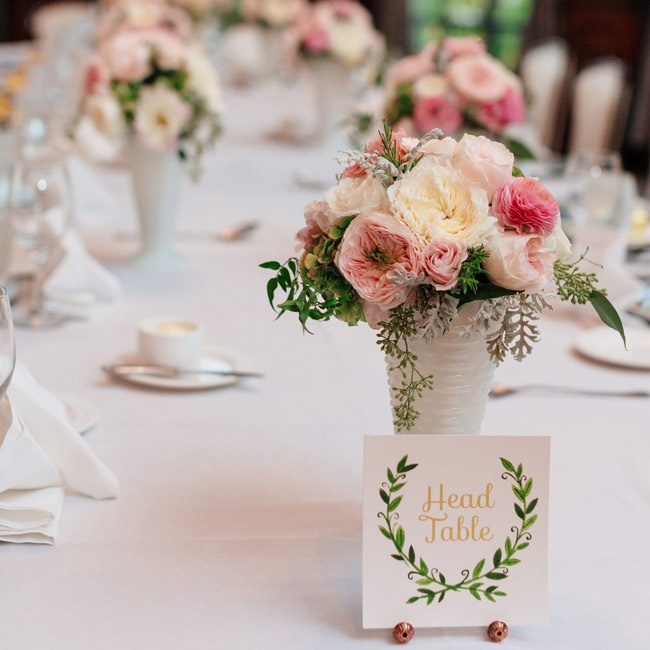The table numbers were printed to mirror the invitations and other stationery, and they were displayed simply with the centerpieces.