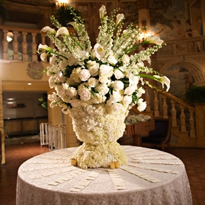White Escort Card Table Decor