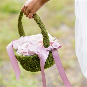 Moss Covered Flower Girl Baskets