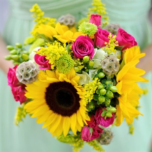 Sunflower and Pink Rose Bouquets