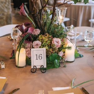 Green, Blush and Maroon Centerpieces