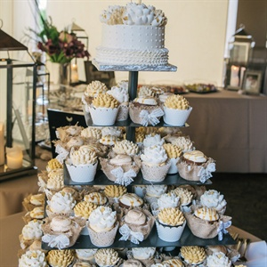 Yellow and White Cupcake Tower