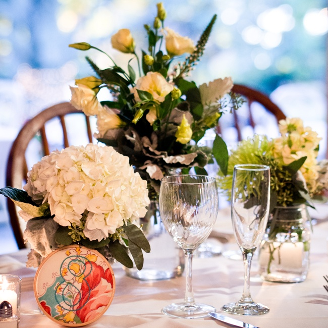 Embroidered details, like the table numbers, were woven throughout the day for a sweet personal touch.