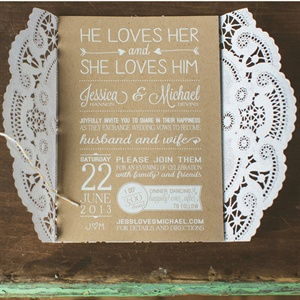 Lacy Brown & White Invitations