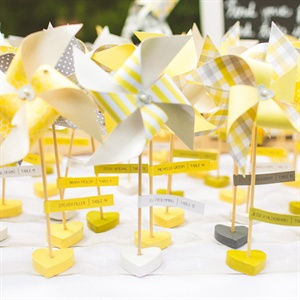 Yellow Pinwheel Escort Cards