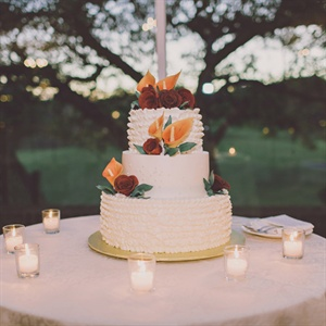 Red and Orange Sugar Flower Cake
