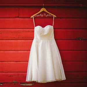 Tea-Length Dotted Wedding Dress