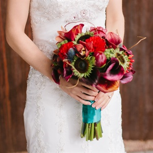 Fall Bouquet with Teal Wrap