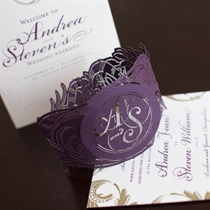 Purple and White Invitation Set