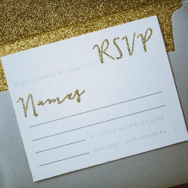 The glitter motif was carried throughout the invitation suite, including on the text of the RSVP card.