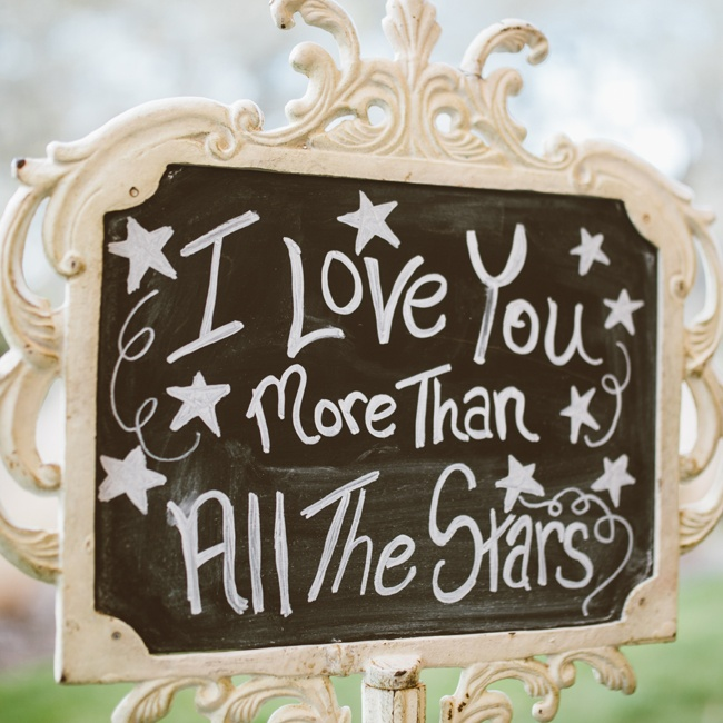 Several chalkboards with star details were used as decor throughout the reception.