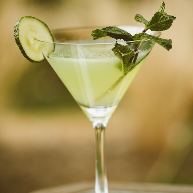 The signature drink for the event was a cucumber mojito served chilled in a martini glass.