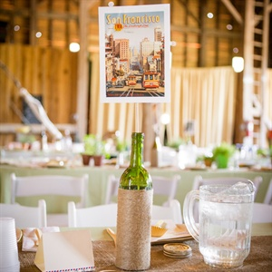 Postcard & Wine Bottle Table Numbers
