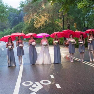 Bridesmaids with Pink Umbrellas