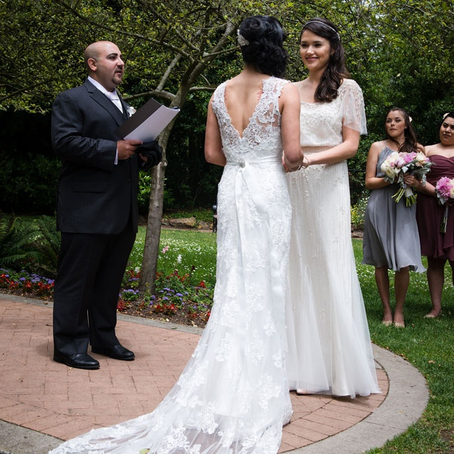 Amy and Sarah said traditional vows during their beautiful outdoor ceremony in Shakespeare's Garden in San Francisco.
