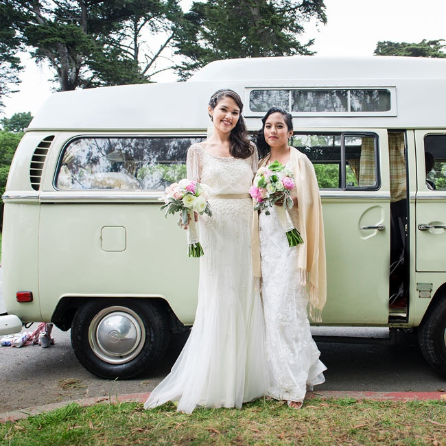 For transportation, the brides took a vintage approach: A refurbished retro van drove the newlyweds from the ceremony to reception.