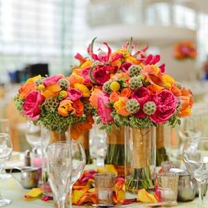 Bright Orange and Pink Centerpieces