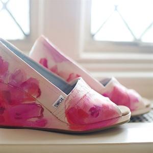 Pink Floral TOMS Wedges