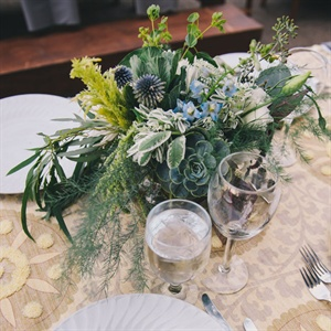 Thistle and Succulent Table Arrangements