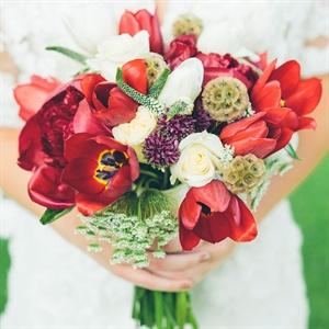 Red Scabiosa Pod Bouquet