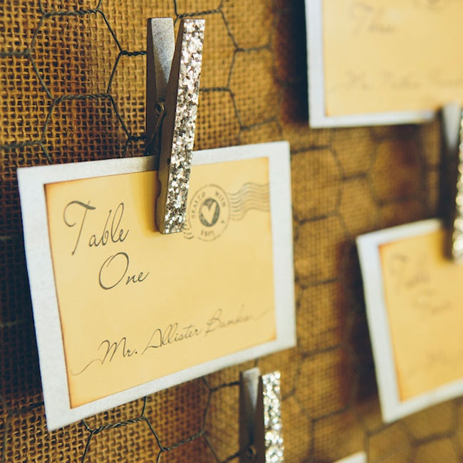 Once again drawing from the vintage postcard inspiration, escort cards were stamped with old-fashioned postage markings.