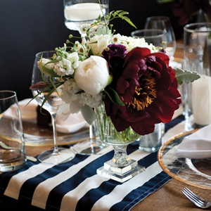 Dark Red and White Peony Centerpieces