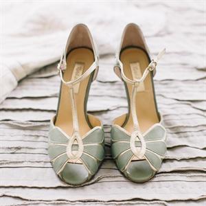 Vintage Sage T-Strap Shoes