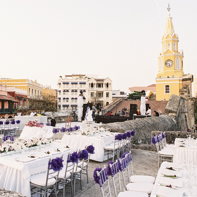 The reception's rooftop location unequivocal views of the city.