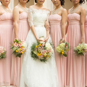 Pink Strapless Bridesmaid Gowns