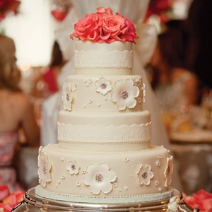 Coral and Ivory Wedding Cake