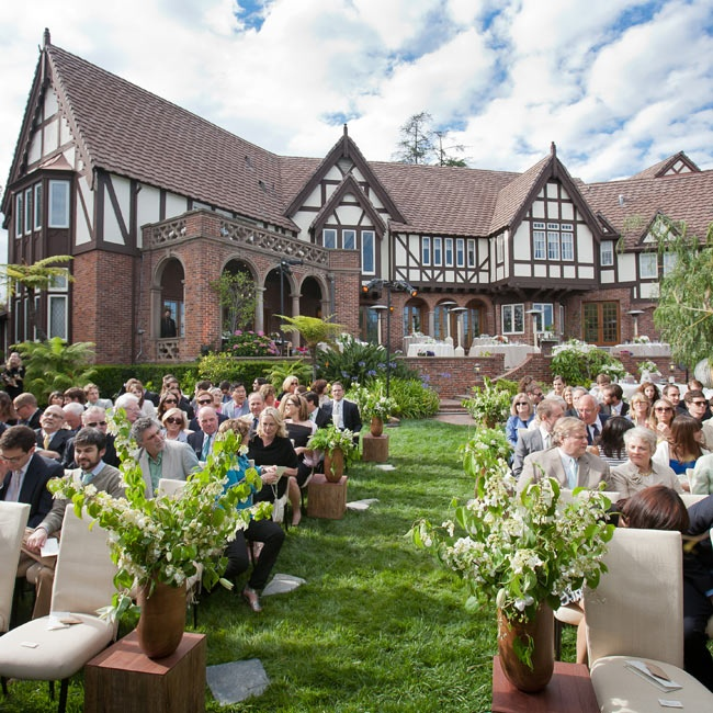 The ceremony took place at a private home in Beverly Hills. The classic Tudor style of the estate created a simple but elegant backdrop to the wedding.