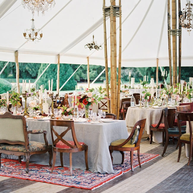 The reception was held out on the lawns, with the illuminated chateau and night sky as a backdrop.