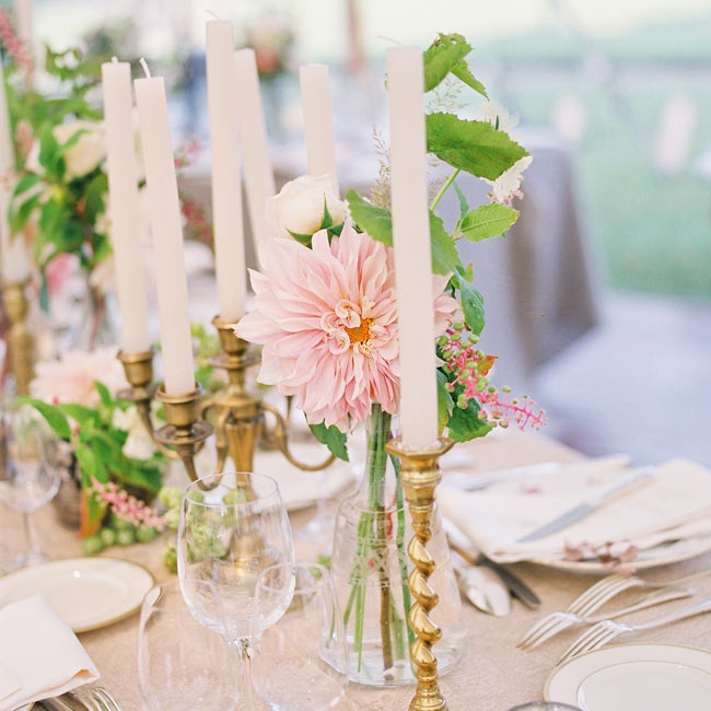 Blush dahlias mixed with golden candle holders and other fresh flowers for a fresh design.
